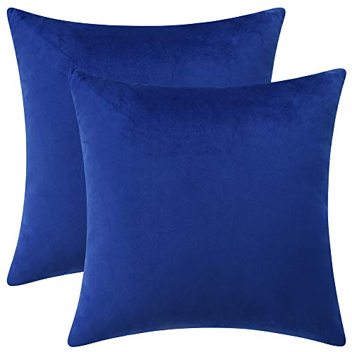 """Rythome Set of 2 Comfortable Velvet Throw Pillow Cases, Decorative Solid Cushion Covers for Sofa Couch and Bed - 18""""x18"""", Sapphire Blue"""