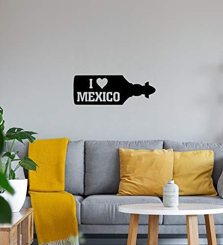 shirt84.de - Adhesivo decorativo para pared, diseño de botella con texto 'I Love Mexico Sierra Tequila', 126 x 46 cm