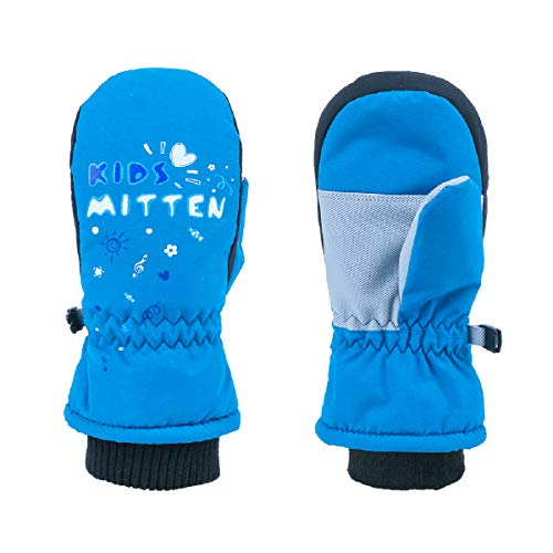 TRIWONDER Guanti da Sci Bambini, Invernali Guanti da Neve per Bimbo Bimba Bambino Bambina (Blu, XXS (3-5 Anni))