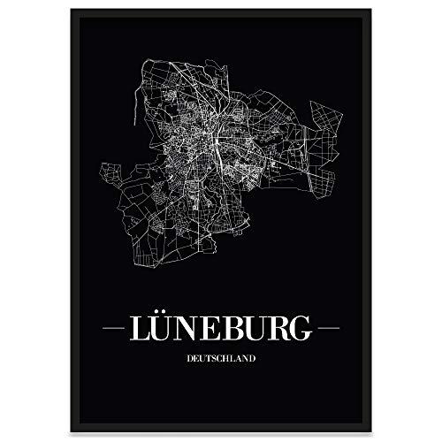 JUNIWORDS Stadtposter, Lüneburg, Wähle eine Größe, 30 x 40 cm, Poster mit Rahmen, Schrift A, Schwarz