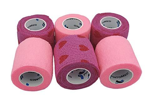 PintoMed Venda Cohesiva 3 x ROSA + 3 x LOVE - 6 rollos – 5cm x 4,5m. Cinta autoadhesiva elastica y flexible. Esparadrapo deportivo. Vet Wrap. Primeros auxilios y lesiones de los deportes.