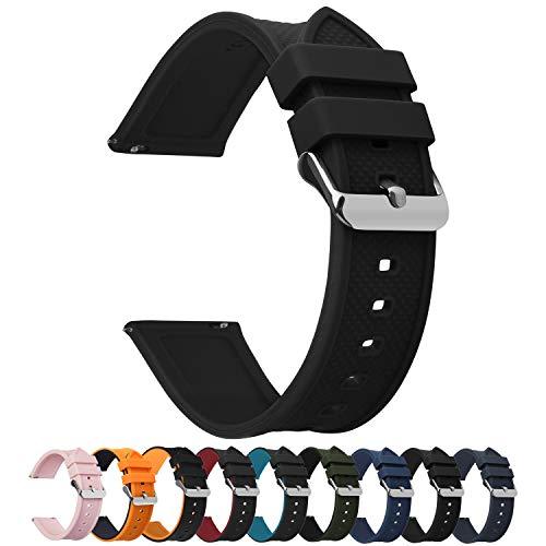 Fullmosa Silikon Uhrenarmband 20mm mit Schnellverschluss in 8 Farben, Regenbogen Weich Silikon Uhrenarmband mit Edelstahlschnalle, 20mm Schwarz + Silberne Schnalle