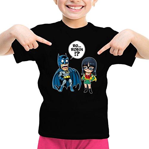 T-Shirt Enfant Fille Noir One Piece - Batman parodique Batman et Robin : Une équipe de Choc !! (Parodie One Piece - Batman)