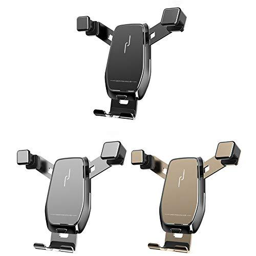 Soporte de teléfono Inteligente de 360 Grados de Metal Vertical Horizontal para Audi A3 S3 Soporte de teléfono de Gravedad Soporte de 4.7 a 7 Pulgadas para navegación por automóvil (Color : Black)