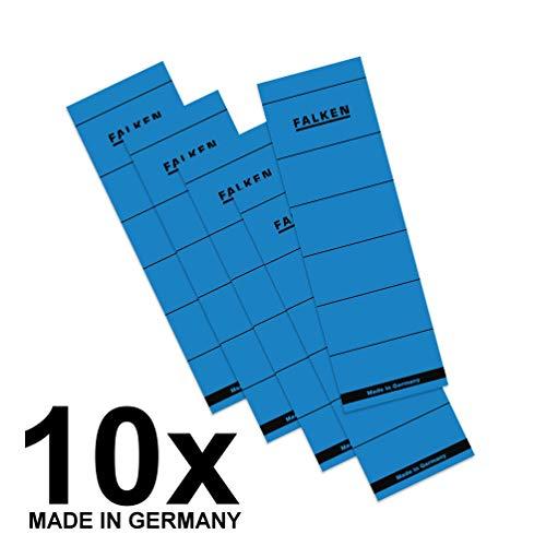 Original Falken 10er Pack Ordner-Rückenschild. Made in Germany. Etiketten 60 x 190 mm selbstklebend für 8 cm breite Ordner blau