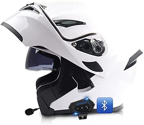 Casco De Motocicleta Modular Integrado Con Bluetooth, Casco Modular Anticolisión, Certificado DOT/ECE, Con Visor Doble, Lente De PC De Alta Definición, Transpirable Y Cómodo, Para Adultos E,XL
