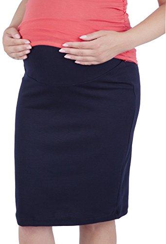 Mija - Schwangerschaftsrock aus Strickstoff mit extra Bauch-Panel 3045 (40/42, Navy)