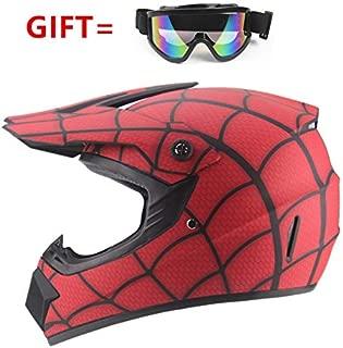 Senhill DOT Motocross Helmet Matte Youth ATV MX Spiderman Helmet Off Road Downhill All Mountain Riding Helmet with Goggles
