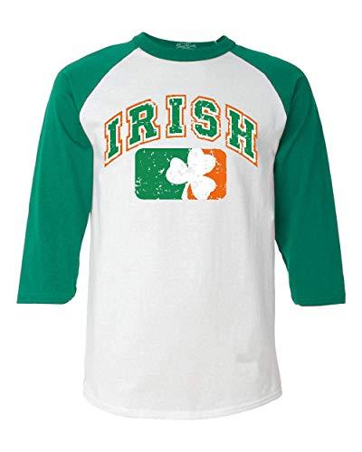 shop4ever Vintage Irish Flag Shamrock Baseball Shirt St. Patricks Day Raglan Shirt Medium White/Kelly6785