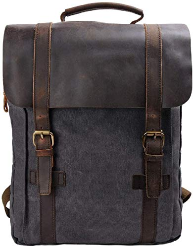 S-ZONE Unisex Vintage 15.6 Laptop Backpack Canvas Genuine Leather Business Travel College School Bag Rucksack Casual Daypacks Updated Double Zipper Version