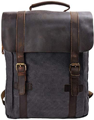 S-ZONE 15 Inch Laptop Rucksack Segeltuch Leder Canvas Vintage-Stil Unisex Daypack Schulrucksack Reisetasche Wandertasche für Arbeit Freizeit Aktualisiert Doppelte Reißverschluss Version