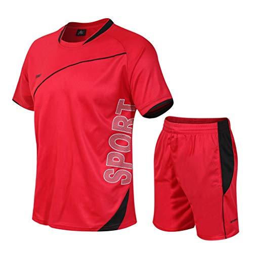 Yowablo - Yoga-T-Shirts für Herren in 2Rot, Größe L