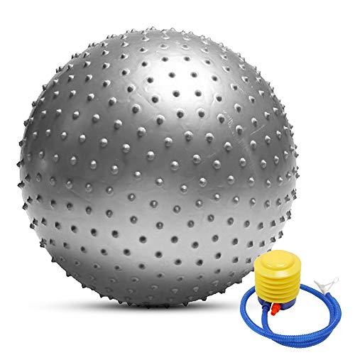 TOMSHOO - Palla da yoga anti-scoppio, elevata stabilità, per pilates, fitness, ginnastica, 55 cm/65 cm/75 cm, pompa ad aria in omaggio, argento, 65 cm