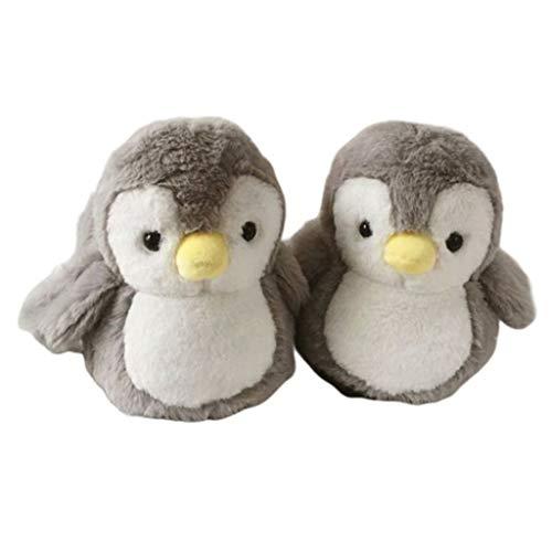 PTMD Damen Winter-Hausschuhe mit niedlichem Cartoon-Motiv, gefüllt, Pinguin-Hausschuhe, gemütlich, dick, Plüsch-Spielzeug, warme Schuhe