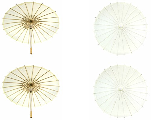 Koyal Wholesale 32-Inch Paper Parasol, 4-Pack Umbrella for Wedding, Bridesmaids, Party Favors, Summer Sun Shade (4, Ivory)