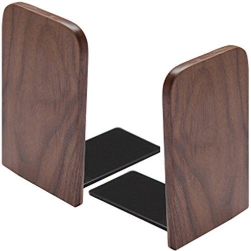 チャミ ブックエンド 本立て 木製 ブナ 卓上整理 収納 2点セット(ウォルナット四角形 M)