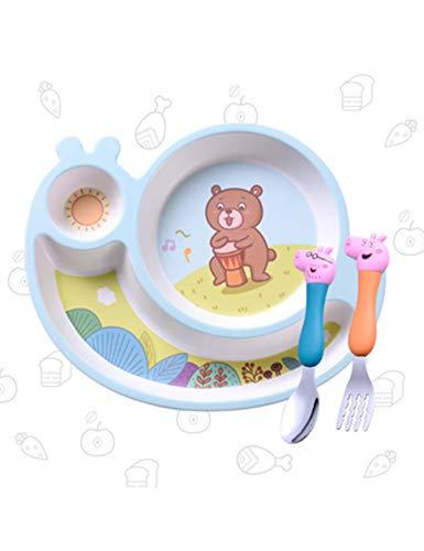 Plato de Fibra de bambu00fa para bebu00e9s, Compartimento, Caricatura, vajilla para niu00f1os, Juego de cucharas de Tenedor, Plato de arroz para niu00f1os, Placa de Rejilla, anti-cau00edda, no tu00f3