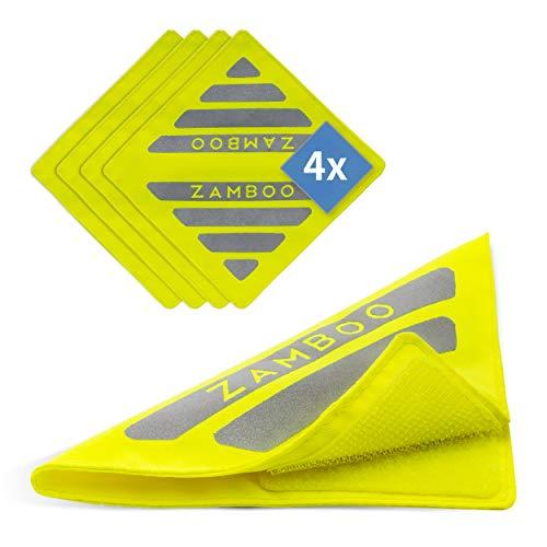 Zamboo 4er Pack Kinderwagen Reflektor Set Universal - 4 Stück Sicherheits-Reflektoren mit Klettverschluss, Ideal für Buggy, Sportwagen, Fahrrad, Anhänger und mehr - Neon Gelb