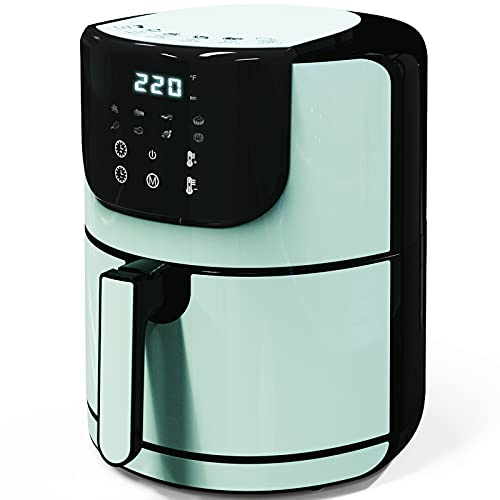 Air Fryer, Less Oil Airfryer, LED Touch Screen, 8 Cooking Preset Functions, Nonstick Dishwasher Friendly, 5.5 QT 1400W Air fryer XL (Aqua)