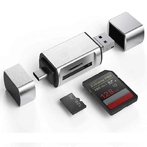 Hoonyer Lettore di Schede di Memoria SD/Micro SD e Adattatore OTG 3 in 1 Micro USB Tipo C a USB 2.0 con Spina USB Standard Micro USB per PC e Notebook Smartphone Tablet con OTG Funzione(Argento)