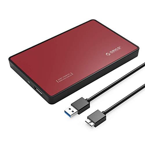 """ORICO 2,5\"""" Externes Festplattengehäuse, USB 3.0 Externes festplatten Gehäuse für SATA 2,5 Zoll Interne HDD und SSD von 7/9,5 mm mit USB3.0 Kabel,Werkzeugfreie Montage, Rot"""