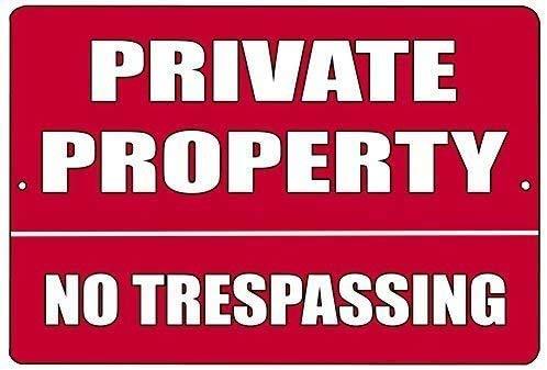 DKISEE Metall aluminium nyhet plåtskylt röd privat egendom ingen att återkalla affärer detaljhandelsbutik hem gård staket skylt 30 x 45 cm
