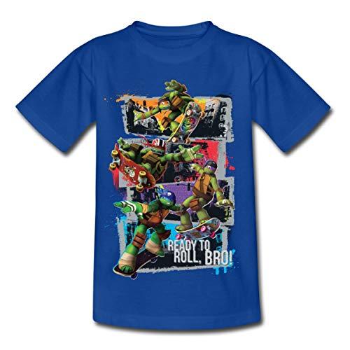 TMNT Turtles Leo Donnie Raph Mikey Fahren Skateboard Kinder T-Shirt, 122-128, Royalblau