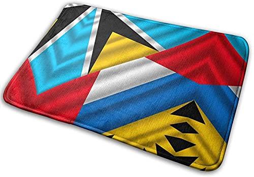 N\A Badematte Badezimmerteppich, Flagge Saint Lucia Antigua & Barbuda absorbierende Teppiche für Wohnzimmer & Schlafzimmer rutschfest für Duschböden im Eingangsbereich,