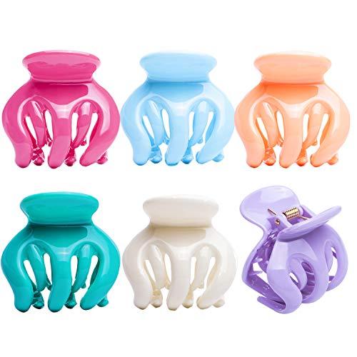 RC ROCHE 6 Stück Kürbis Haarklammer Oktopus Spinne für Damen mit Ineinandergreifenden Zähnen Festem Griff Hochwertiger Klaue Klemme Haarspange Mädchen, Groß Pastell Multifarben