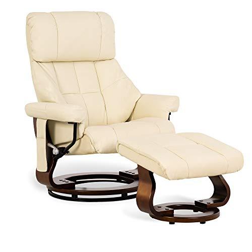 MCombo Fauteuil de relaxation massant inclinable, rotative à 360 ° ,avec tabouret,avec poche latérale, pour le salon, cuir artificiel, 9068 (crème)