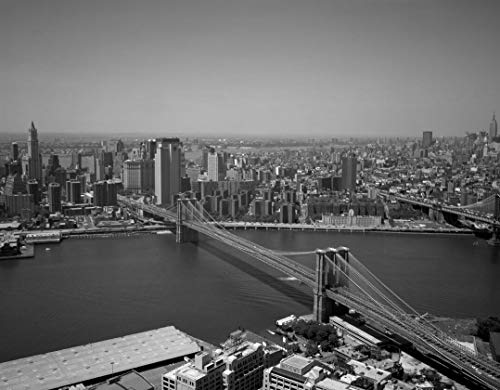18 x 24 Black & White Canvas Wrapped Print of Aerial View of New York New York with a Focus on The Brooklyn Bridge Looking Toward Manhattan to The Right in The Distance is The Empi s61 1993 Highsmith