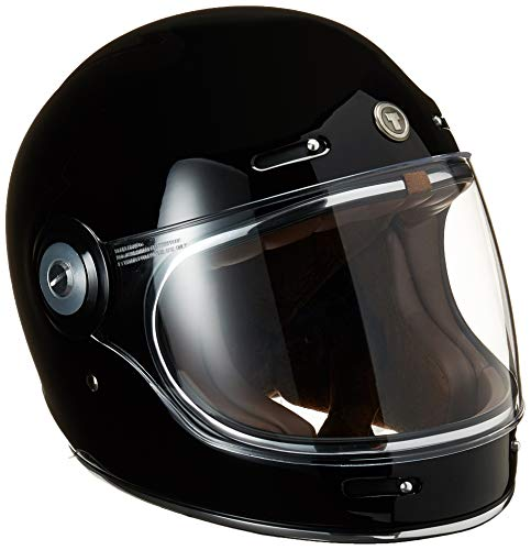 TORC Unisex-Adult T10523 Retro Fiberglass Full-Face Style Motorcycle Helmet (Gloss Black, Medium), 1 Pack