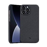 「PITAKA」iPhone 13 Pro Max 対応 ケース MagEZ Case 2 MagSafeワイヤレス充電対応 耐衝撃 保護ケース アラミド繊維製 カーボン風デザインのカバー ミニマリスト シンプル 6.7インチ(黒/グレー ツイル柄)