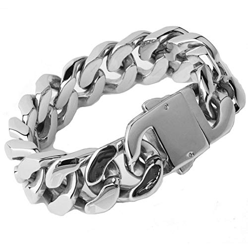 Top Quality 20mm Men¡¯s Stainless Steel Cuban Curb Link Chain Bracelet(Silver) (Quality Stainless Steel Bracelets)