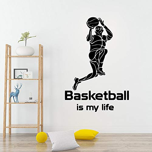 guijiumai Moderner Basketball in Meinem Leben Art Vinyl Wandaufkleber PVC Wandtattoos Hintergrund Wandkunst 71X105CM