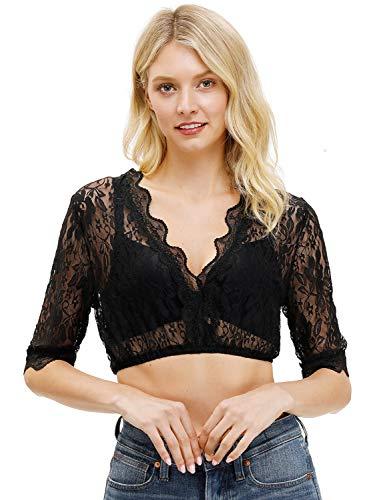 BesserBay Damen Trachtenmode Dirndlbluse mit Stehkragen Spitze Dirndl Bluse, 1004 Spitzenbluse Schwarz, Gr.- 36/Etikettengröße - S