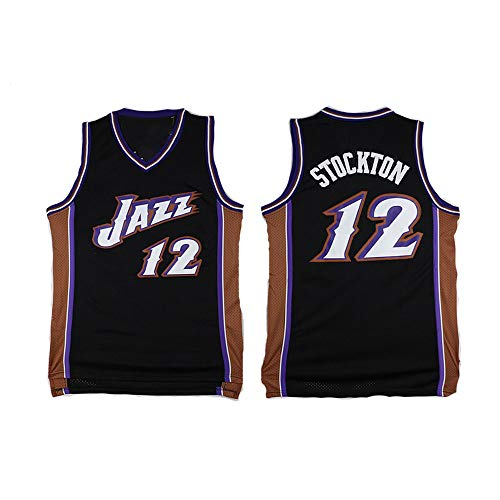 XIAOHAI Men's NBA Sports Basketball Jersey Jazz # 12 John Stockton Transpirable Resistente al Desgaste Bordeado Baloncesto Swingman Jerseys Camiseta Deportiva Jerseys,L