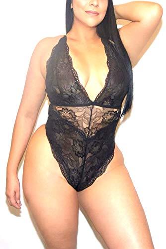 Aranmei-Women-Deep-V-Sexy-Lace-Bodysuit-Snap-Crotch-Lingerie-Teddy-Underwear-Plus-Size