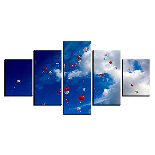 WHFDH Hd print schilderij 5 panelen hemel hart ballon afbeelding huis decoratie landschap poster muurkunst moderne woonkamer canvas 10x15 10x20 10x25cm Frame