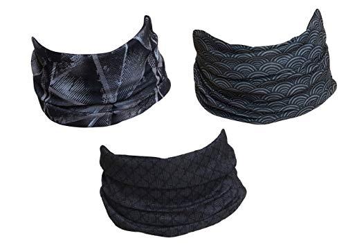 Hilltop 3 pañuelos multifunción para moto, pañuelo, bandana, juego de 3 en diseños seleccionados, para hombre y mujer Actividad de fitness. Talla única