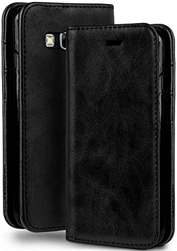 moex Booklet in Lederoptik - Kartenfächer und Aufstellfunktion kompatibel mit Samsung Galaxy A3 (2015)   Eleganter 360 Grad Vollschutz, Schwarz