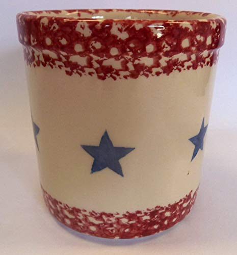 "Gerald E. Henn Workshops Crock Dish Red Trim/Blue Stars 5.25"" H Roseville Sponge Ware"