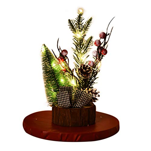 Baorio Decoración de Navidad LED con base de madera clara, decoración de Navidad LED de madera + mascota, buena luz LED