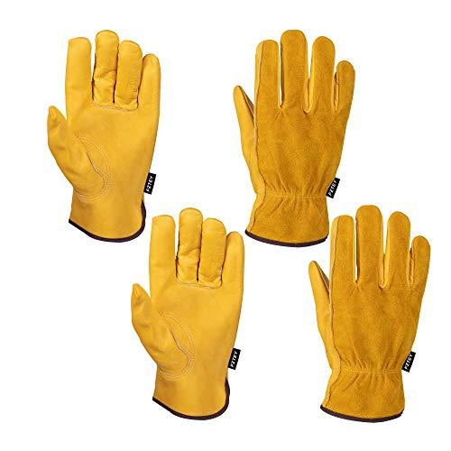 FZTEY Yard Gardening Safety Work Protective Leather Gloves Men & Women 9(Large)