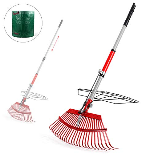 "Garden Rake, 38""- 56""Leaf Rake with 72 Gal Reusable Garden Waste Bag,Adjustable Rake and Grabber Set for Gardener, 25 Tines Steel Head, 21"" Wide, Harrow Outdoor Tools for Collect Leaves and Dead Grass"