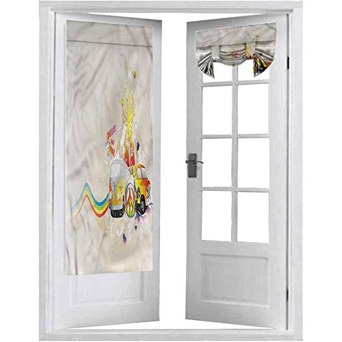 """Blackout Curtain for French Door, Hippie,Minivan Peace and Love 60s, 2 Panels-26"""" X 68"""" Blackout Door Curtains for Privacy"""