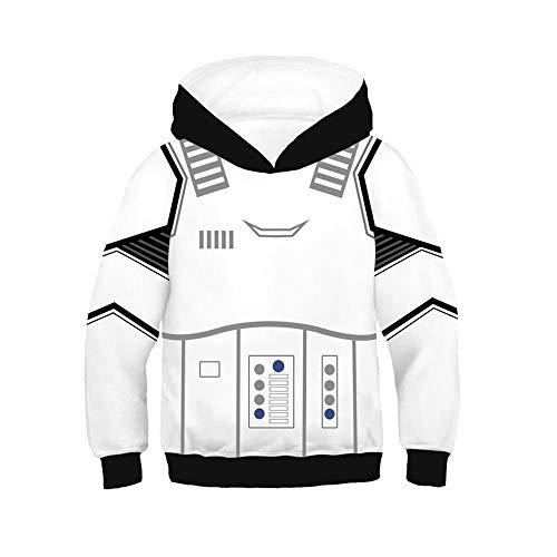 KIDSHOODIE Kinder Hoodie 3D-Druck Star Wars Sweater Und Herbst Jacke Kid-Jungen-Mädchen-Kleidung Baseball Tragen Mantel Mit Kapuze White-145cm-155cm[L]