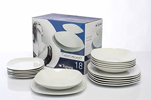 Tognana Servizio Splendor 18 Pezzi, Porcellana, Lavabile in lavastoviglie, Bianco