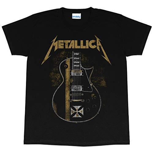 Popgear Metallica Hetfield Guitar Cross Men's T-Shirt Black Camiseta, Negro, XXL para Hombre