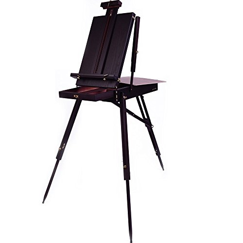 Mont Marte French Box Easels Paint Easel with Drawer, Wooden Pallete, Black